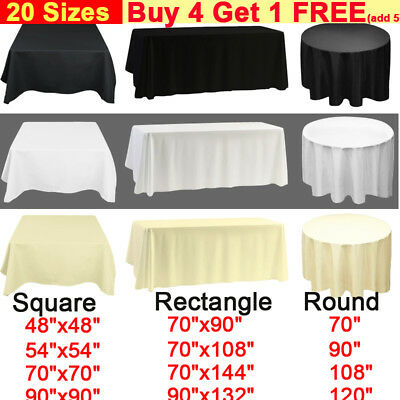 White Black Ivory Polyester Tablecloth Table Cloth Cover ROUND RECTANGLE SQUARE
