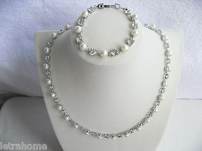 7mm Real White Freshwater Pearl Platinum Plated Necklace Bracelet Set Occasion
