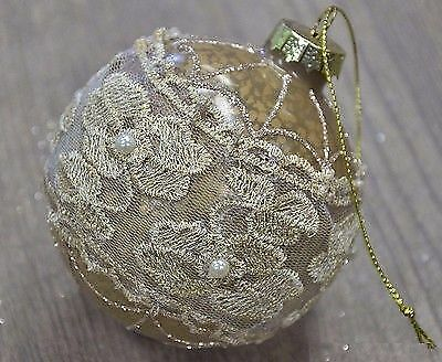 Ancient Gold Mercury Glass Ball Bauble With Laces, Christmas Ornament N16