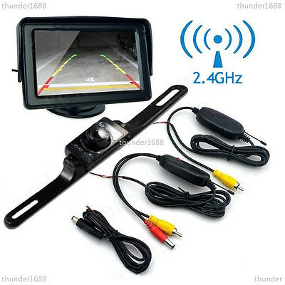 "Wireless 2.4GHz Car 4.3"" LCD Monitor Night Vision Parking Backup Reverse Camera"