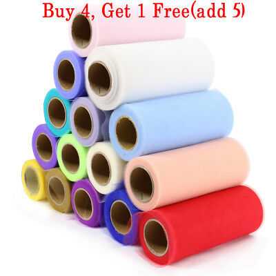 "6"" wide x 100/25 yds TUTU Tulle Roll Netting Rolls Fabric Soft Nylon Wedding"