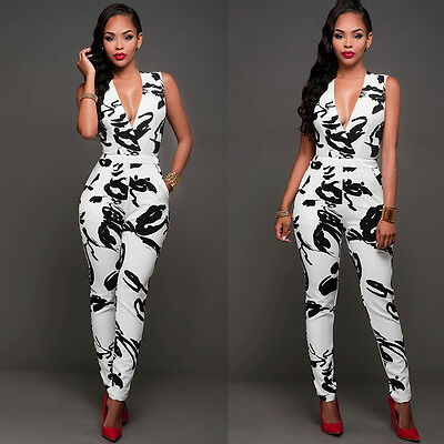 New Women Ladies Clubwear V Neck Playsuit Bodycon Party Trousers Jumpsuit Romper