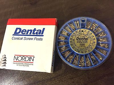 Dental Screw Post Authentic NORDIN Complete Kit Gold 240 Posts 2 Key Wrench Tool