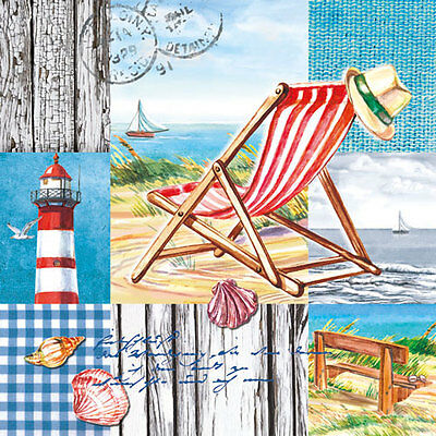 20 Ambiente 3 Ply Paper Napkins Serviettes Beach Chair Seaside Sea Lunch Table