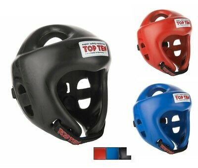 Top Ten Fight Head Guard (Olympia) Martial Arts Kickboxing - Black Red Blue