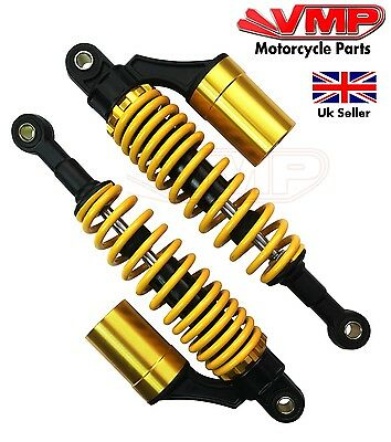 New Yellow Gold Motorcycle Rear Shock Absorbers Suspension Springs Pair 330mm