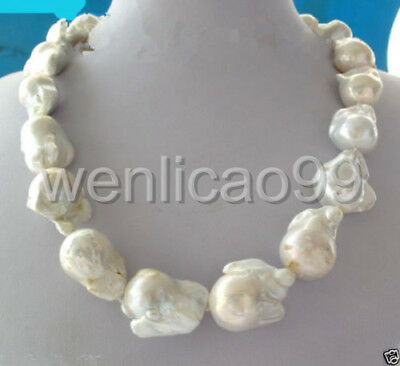 """Fashion natural REAL AAA SOUTH SEA WHITE BAROQUE PEARL NECKLACE 18"""""""