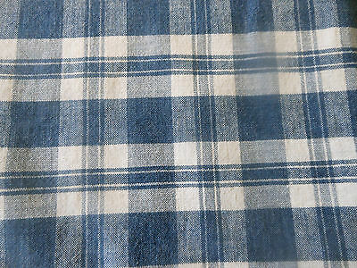 Antique  French Farmhouse Loomed Blue Homespun Plaid Cotton Linen Fabric