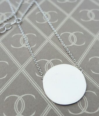 Personalised Sterling Silver Polished Disc Necklace Pendant ENGRAVE