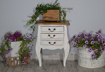 French White Chest Of 3 Drawers Cabinet Sideboard Vintage Retro Bedside Table