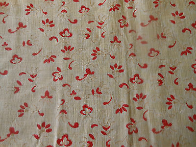 Antique French Small Scale Floral Light Cotton Fabric ~ Red Tan ~ dolls quilts
