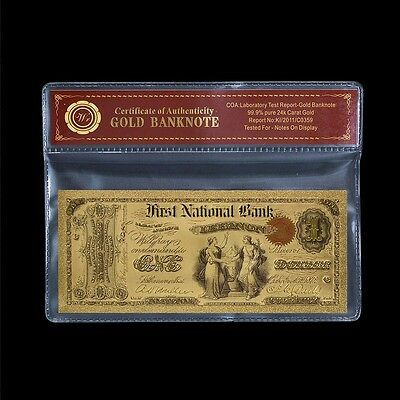 Unique 1875 Edition $1 US Colored Dollar Fine 24k Gold Banknote Free COA Sleeve