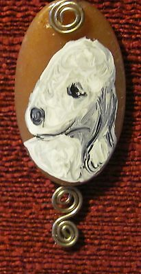 Bedlington Terrier hand painted on wire wrapped pendant/bead/necklace