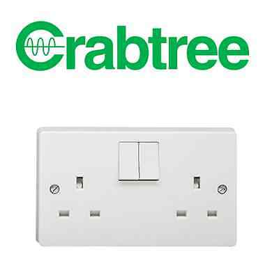 Crabtree 4306 13A 2 Gang DP Dual Earth Double Switched Socket White