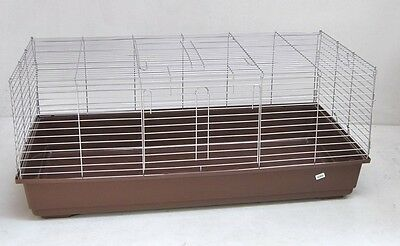 Rabbit hutch Guinea pig cage Rodent home 100 cm brown