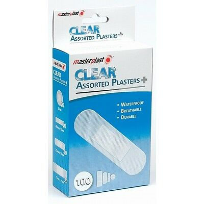 100pk Masterplast Clear Assorted Dreathable Waterproof First Aid Bandage Plaster