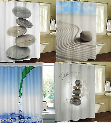Luxury 180 200cm Stones Water Nautical Beach White Blue Polyester Shower Curtain