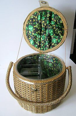 Large Vintage Sewing Wicker Basket