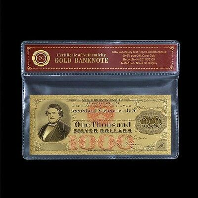 $1000 1878 Silver Certificate US Note Pure Gold Foil Plated Banknote Colorized