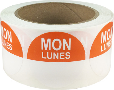 """Removable Food Rotation Labels - 2"""" Round for Monday/Lunes - 500 Total Labels"""