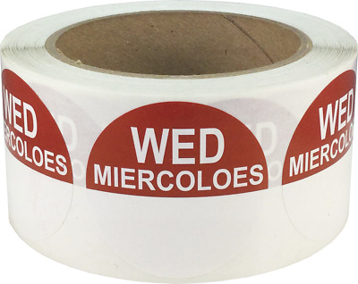 """Removable Food Rotation Labels - 2"""" Round for Wednesday/Miercoles - 500 Total"""