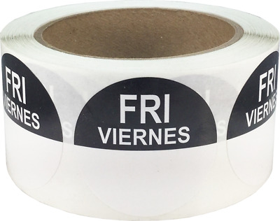 """Removable Food Rotation Labels - 2"""" Round for Friday/Viernes - 500 Total Labels"""