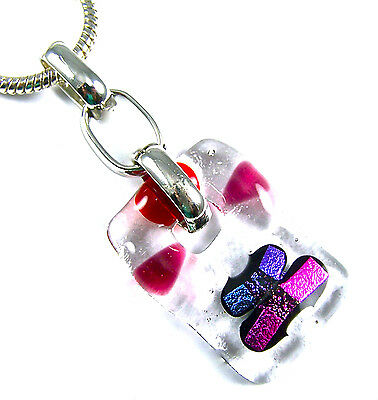 DICHROIC PENDANT Clear Fused Glass Slide Berry Red Purple Magenta Pink Link Bail