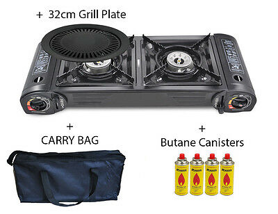 Portable Gas Stove Cooker 2 burners Camping Outdoor BBQ Caravan BAG BDZ-268 New
