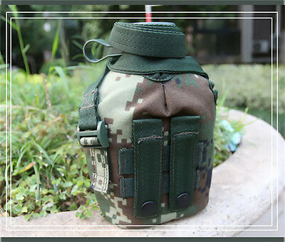 1L Stainless Steel Kettle Water Bottle Military Sports Camouflage Camo Kettle
