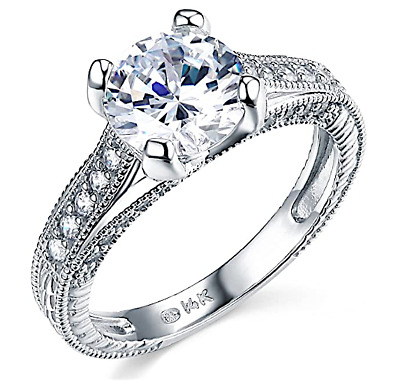 3.00 Ct Round Channel Engagement Wedding Promise Ring Solid Real 14K White Gold