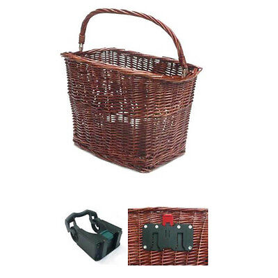 Wicker Rectangle Front BIke Bicycle Storage Carry Basket Quick Release