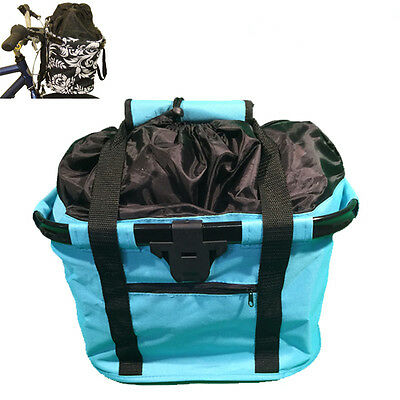 Fabric Front Bike Bicycle Storage carry Basket AQUA #8853 Quick Release