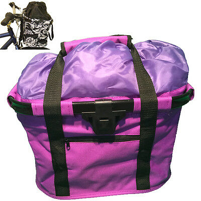 Fabric Front Bike Bicycle Storage carry Basket PURPLE 8855 Quick Release