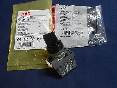 NEW ABB 2 Position Selector Switch W/RED Contact Block M2SS2-10B MCBH-01