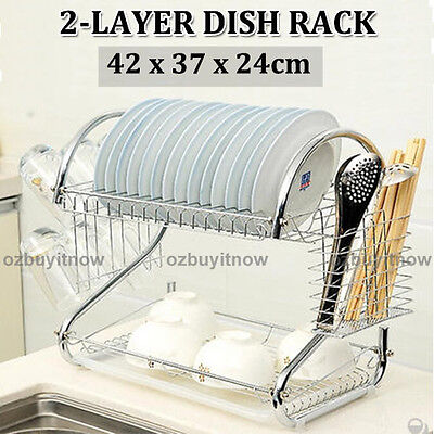 AU SHIP Plated Steel 2 Layers Chrome Dish Rack Cup Drying Drainer Utensils Dryer
