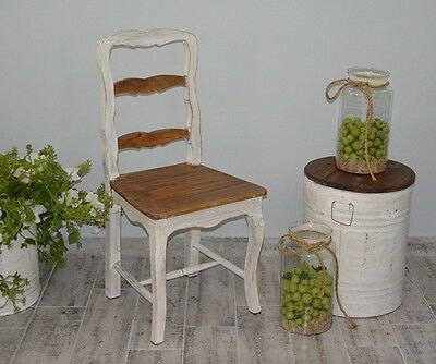 French White Dining Chair Kitchen Retro Vintage Wooden Seat Shabby Chic Rustic