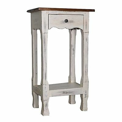 French White Table Side End Table Bedside Phone Drawer Vintage Retro Nightstand