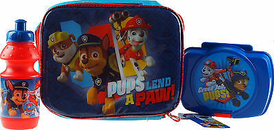 Paw Patrol School 3 Piece Lunch Box Bag, Sandwich Container And Flask