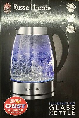 Russell Hobbs 15082 1.7 L Blue Illuminating Glass Cordless Kettle **BRAND NEW**