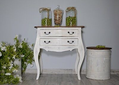 French White Chest Of 2 Drawers Cabinet Sideboard Vintage Retro Cupboard Wood