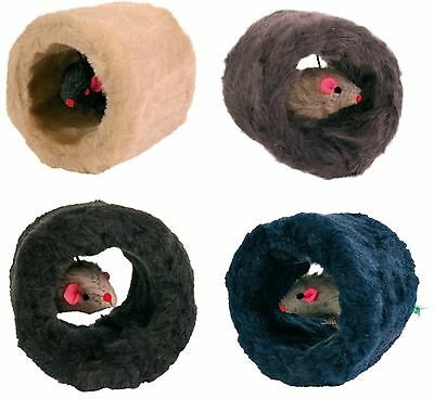 Plush Play Roll Cat Kitten Toy with Mouse & Feather on Elastic String