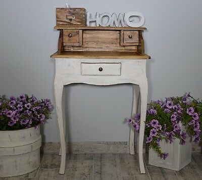 Wooden Dressing Table Secretary French Style White Drawer Vintage Retro Rustic