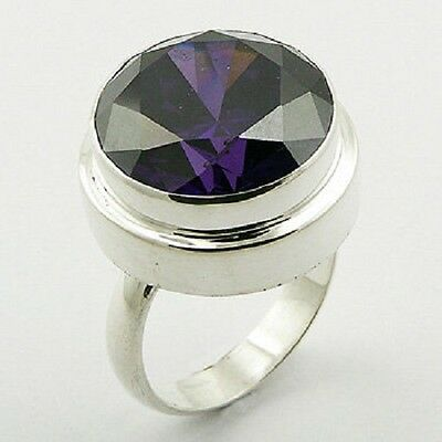 Silver ring 925 sterling Purple Cubic Zirconia Round handmade 6us 7us 8us 9us AA