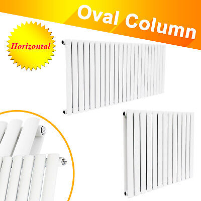 Horizontal Designer Oval Column Panel Bathroom Radiators Central Heating White
