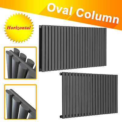 Horizontal Designer Oval Column Bathroom Radiators Central Heating Anthracite