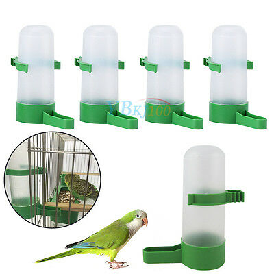 4pcs Plastic Pet Cage Aviary Bird Parrot Budgie Drinker Food Feeder Waterer Clip