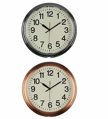 Wall Clock Cream Face Black Numbers & Hands Chrome/Copper Finish Metal Frame