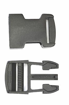 10 x BLACK PLASTIC DELRIN SIDE RELEASE BUCKLES Fastener  25 mm / 1 Inch Wide