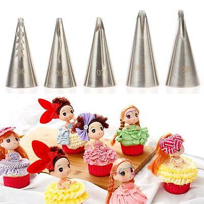 5PCS DIY Wedding Cake Decorating Mould Cream Cake Russian Nozzles Pastry Piping