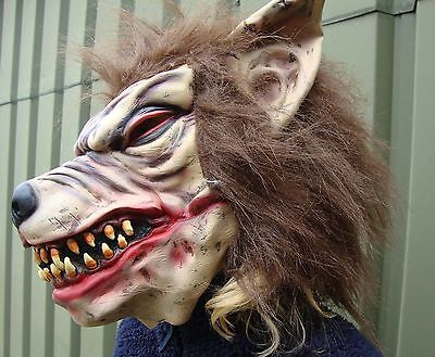 Wolfman latex mask Fancy Dress Halloween werewolf scary horror full head mask